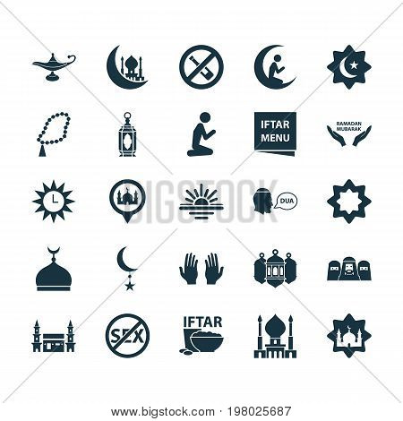 Religion Icons Set. Collection Of God's House, Dua, No Alcohol And Other Elements