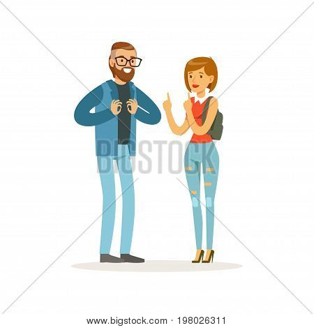 Young disability deaf people with hearing aid communicate using sign language, healthcare assistance and accessibility colorful vector Illustration on a white background