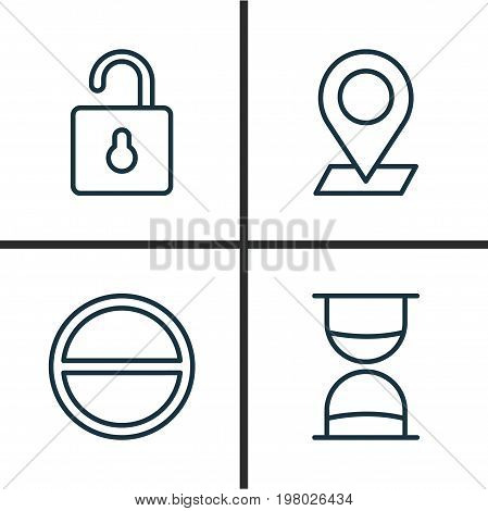 Icons Set. Collection Of Refuse, Unlock, Hourglass And Other Elements