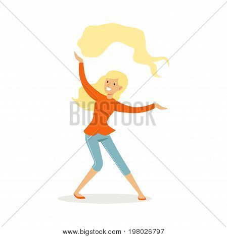 Beautiful young blonde woman in casual clothes dancing traditional Indian dance colorful character vector Illustration on a white background