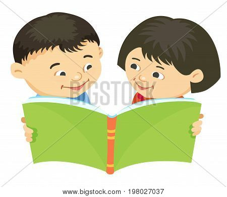 Cartoon kids reading book boy girl isolated vector illustration asian, Asiatic