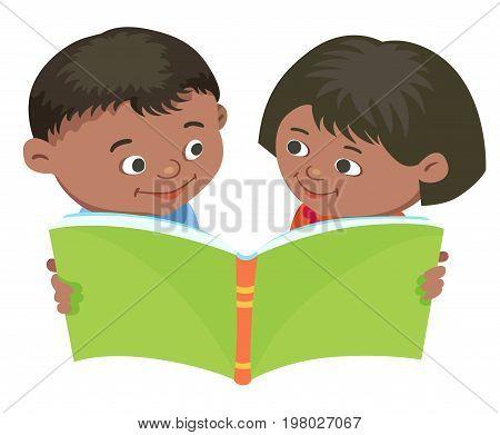 Cartoon kids reading book boy girl isolated vector illustration Mexican, half-breed,
