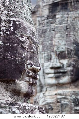 Ancient bas-relief at the Upper terrace of Prasat Bayon temple in Angkor Thom, Cambodia
