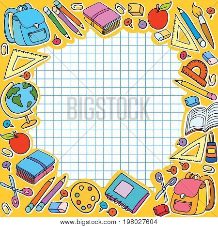 bunner yellow cell sheet in cage with set of different school things bag apple vector illustration