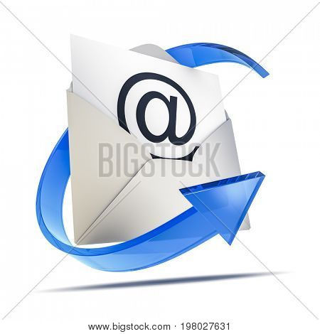 3d rendering of an envelope with an email sign