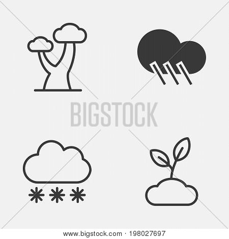 World Icons Set. Collection Of Plant, Snowstorm, Oak And Other Elements
