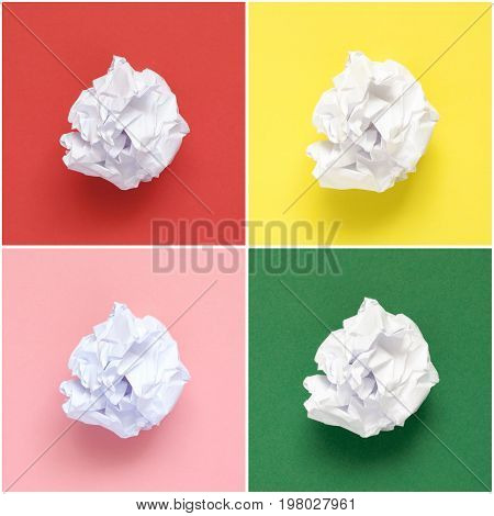 Collage of white crumpled papers on colorful background