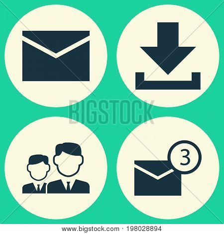 Media Icons Set. Collection Of Letter, Inbox, Down Arrow And Other Elements