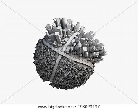 megalopolis aerial view 3d render image grey