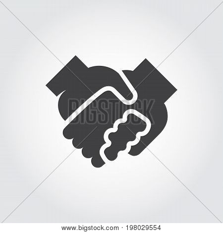 Handshake black flat icon. Symbol of relationship, friendship, partnership, support. Graphic logo with two human hand in hand. Contour arm silhouette. Vector illustration