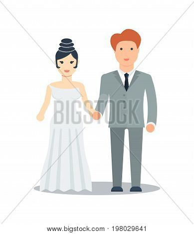 Happy young just married icon vector illustration isolated on white background. Happy bride and groom couple. People relationship, family concept in flat design.