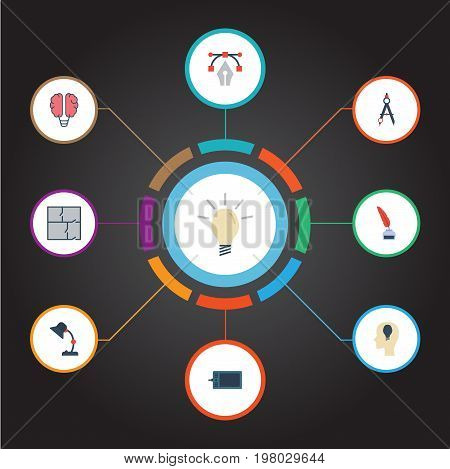 Flat Icons Writing, Gadget, Illuminator And Other Vector Elements