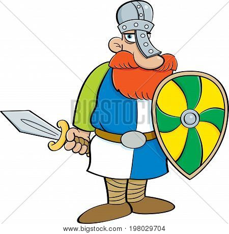 Cartoon illustration of a medieval knight holding a shield and a sword.