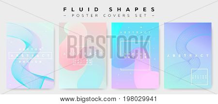 Poster Covers Set with Fluid Shapes. Modern Hipster Memphis Pattern. Minimalistic Vector Illustration for Placard Flyer Banner Report Presentation. Abstract Futuristic Design with Colorful Waves.