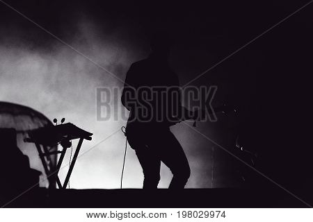 Guitarist Playing Live In Stage Lights