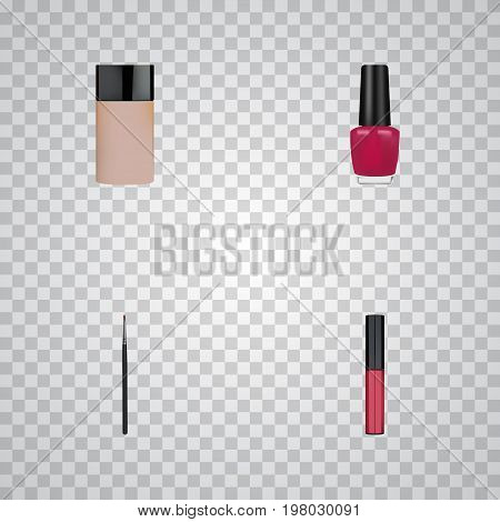 Realistic Concealer, Varnish, Liquid Lipstick And Other Vector Elements