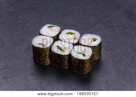 Japanese Food, Restaurant Menu. Sushi Rolls With Redfish And Sca