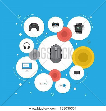 Flat Icons Display, Computer Mouse, Controller And Other Vector Elements