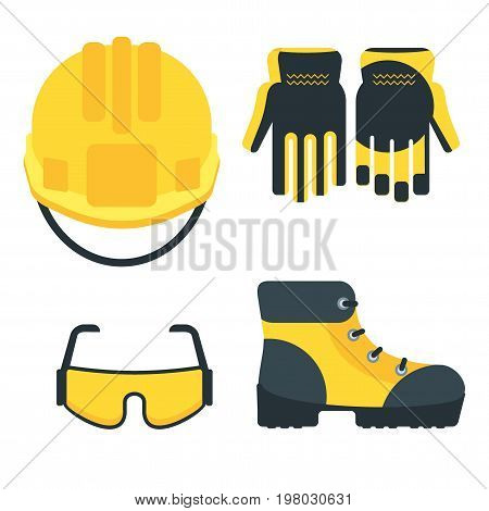 Set of protective equipment icons. Conceptual image of tools for repair construction and builder. Concept image of work wear. Cartoon flat vector illustration. Objects isolated on a background.