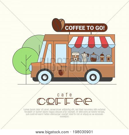 Coffee truck concept with thin line icons of coffee machine, maker, cups. Vector illustration of street cafe.