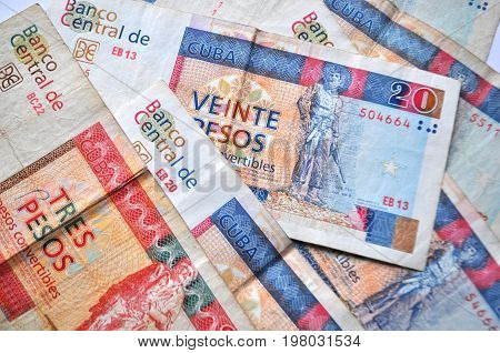 Travel to Cuba - Cuban currency - convertible pesos bank notes detail, money close up
