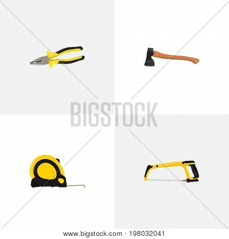 Realistic Pliers, Arm-Saw, Hatchet And Other Vector Elements
