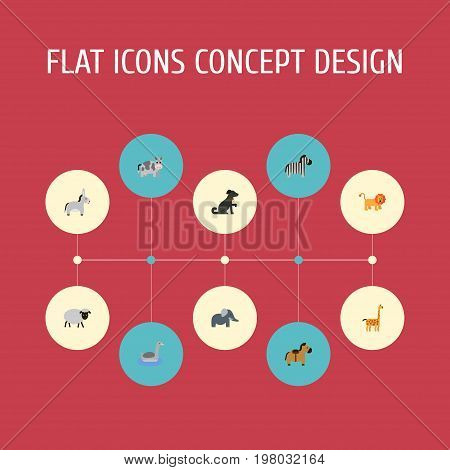 Flat Icons Waterbird, Camelopard, Trunked Animal And Other Vector Elements