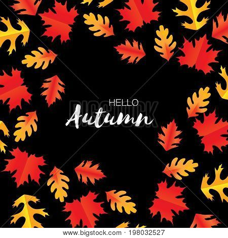 Hello Autumn Paper Cut leaves. September flyer template. Space for text. Origami Foliage. Oak. Circle Fall leaf poster. Black background. Vector illustration.