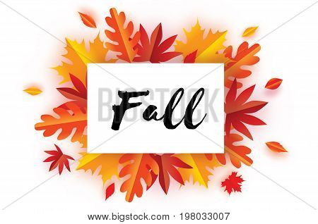Beautiful Autumn Fall Paper Cut Leaves. Hello Autumn. September flyer template. Rectangle frame. Space for text. Origami Foliage. Maple, oak. Fall poster. White background. Vector illustration