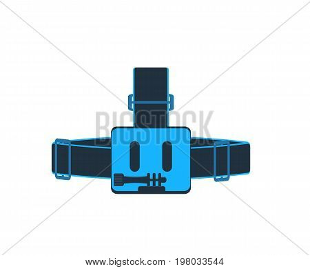 Head strap for action camera isolated vector icon. Outdoor activity, nature traveling equipment element.