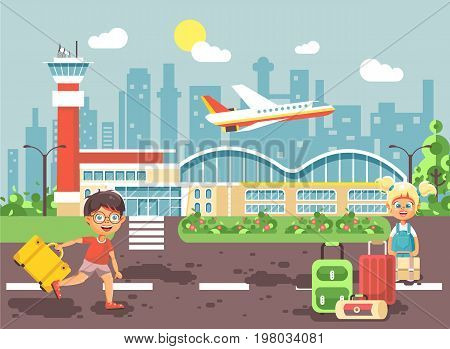 Stock vector illustration cartoon character late boy run to little blonde girl standing at airport, departing plane, bag suitcases awaiting for travel trip holiday weekend flat style city background