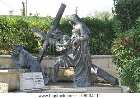 Giulianova Italy,October 21st 2010.The stations of the cross depicting Christ's journey to Mount Sinai are found in Giulianova Italy.