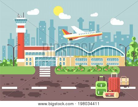 Stock vector illustration cartoon bags and suitcases standing at airport, late delay departing plane, awaiting for travel trip holiday weekend flat style city background for motion design site banner