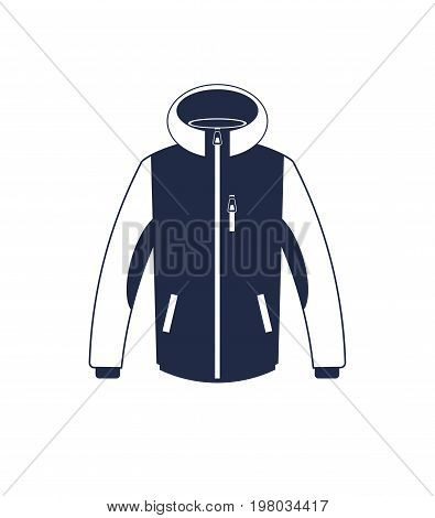 Trekking winter jacket isolated vector icon. Outdoor activity, nature traveling equipment element.