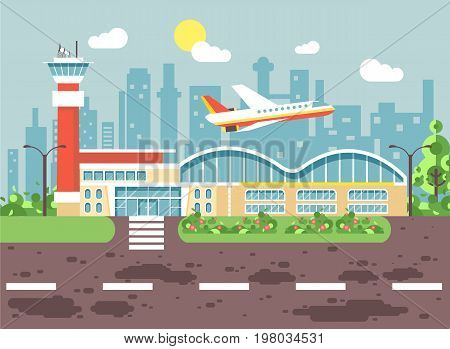 Stock vector illustration cartoon airport, late delay departing plane, awaiting for travel trip holiday weekend flat style city background for motion design or site banner