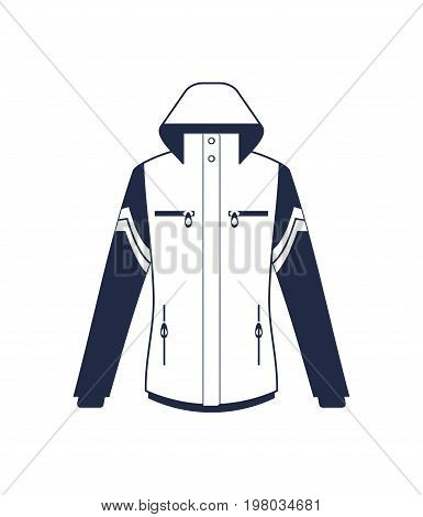 Modern winter jacket isolated vector icon. Outdoor activity, nature traveling equipment element.