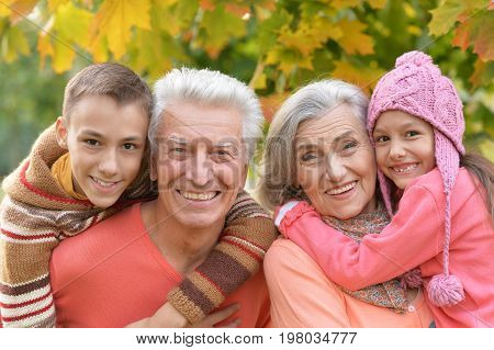 Family portrait of happy grandparents and grandchildren