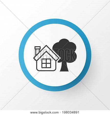 Premium Quality Isolated Ranch Home Element In Trendy Style.  Farm House Icon Symbol.