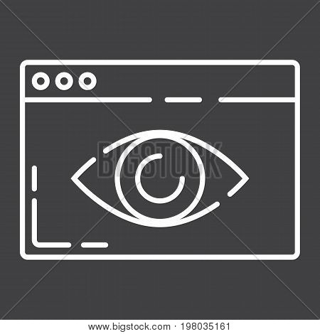 Web Visibility line icon, seo and development, browser sign vector graphics, a linear pattern on a black background, eps 10.