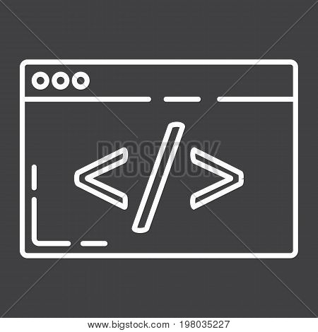 Custom coding line icon, seo and development, browser programming sign vector graphics, a linear pattern on a black background, eps 10.
