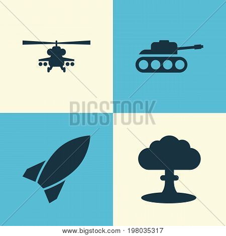 Combat Icons Set. Collection Of Missile, Chopper, Atom And Other Elements