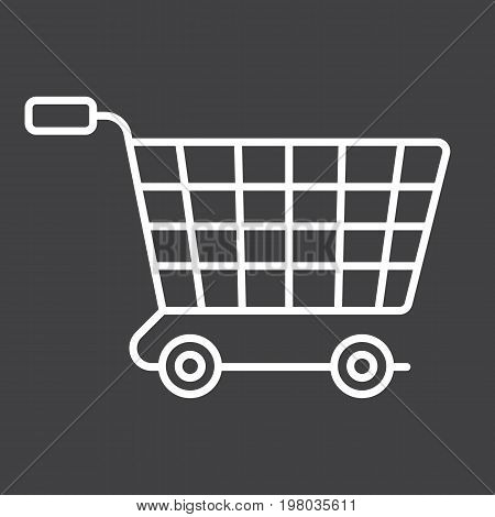 Ecommerce solutions line icon, seo and development, basket sign vector graphics, a linear pattern on a black background, eps 10.