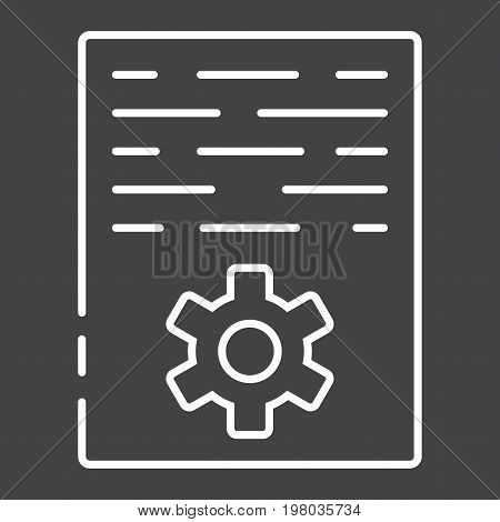 Article marketing line icon, seo and development, document sign vector graphics, a linear pattern on a black background, eps 10.
