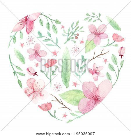 Watercolor Flower traditional painting background wedding invitation card save the date card greeting card