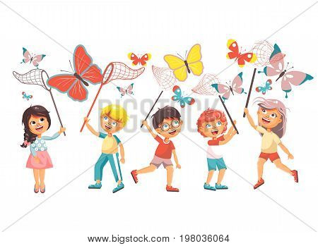 Stock vector illustration isolated cartoon character children, young naturalists, biologist boys and girls catch colorful butterflies with nets, scoop-nets, hoop-nets on white background in flat style