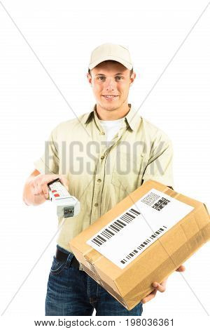 a studio shot of a delivery person, isolated on white. he is handing you his barcode reader for you to confirm the receipt of your parcel. all barcodes on the parcel are generated by myself and contain no useful data.