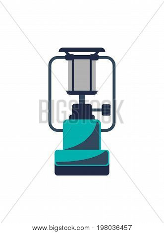 Portable gas stove icon isolated vector illustration. Campsite equipment in flat design. Hiking traveling, nature vacation concept.