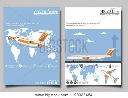 Airline poster set with airplane. Commercial air shipment, fast freight delivery, global cargo transportation. Worldwide tourist and business flights, airline vector illustration.