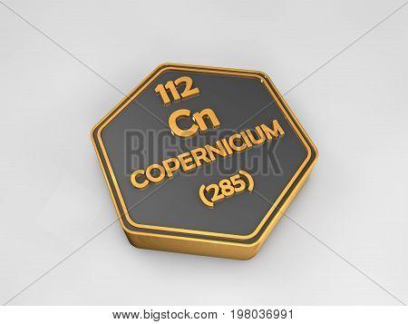 Copernicium - Cn - chemical element periodic table hexagonal shape 3d render