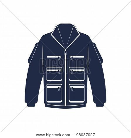 Hiking winter jacket isolated vector icon. Outdoor activity, nature traveling equipment element.